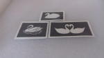 Swan stencils (mxed) for etching on to glass         present gift hobby craft glassware (3 designs)